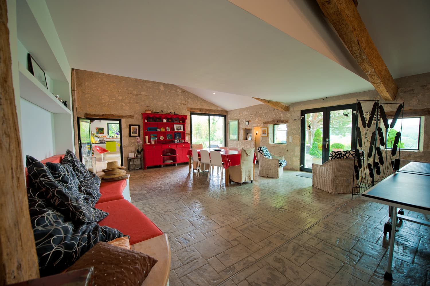 Dining and games room in Dordogne self-catering accommodation