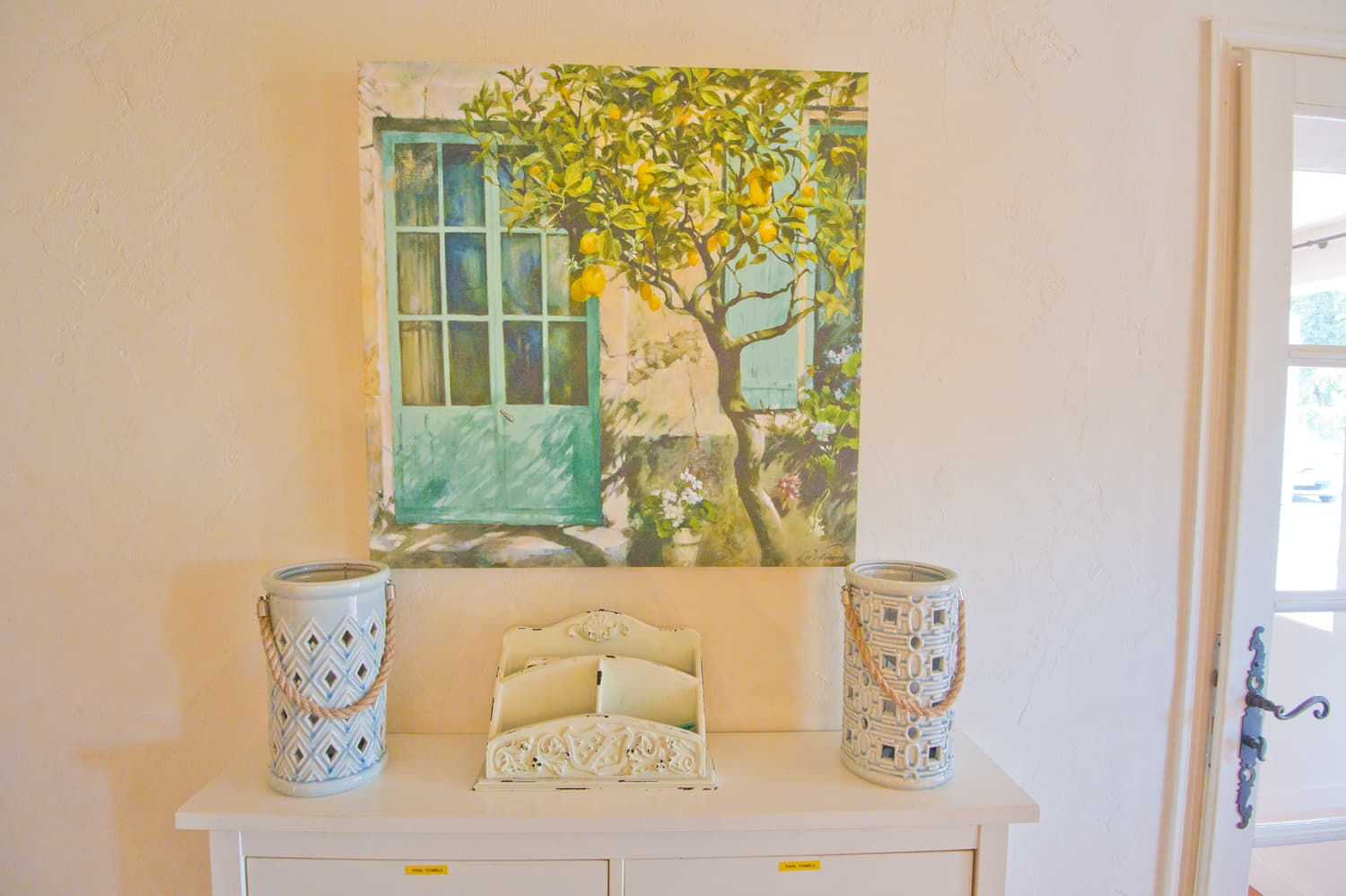 Provençal mural scene on wall in Provence rental home