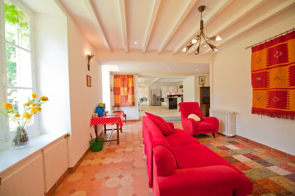 Living room in West France rental accommodation