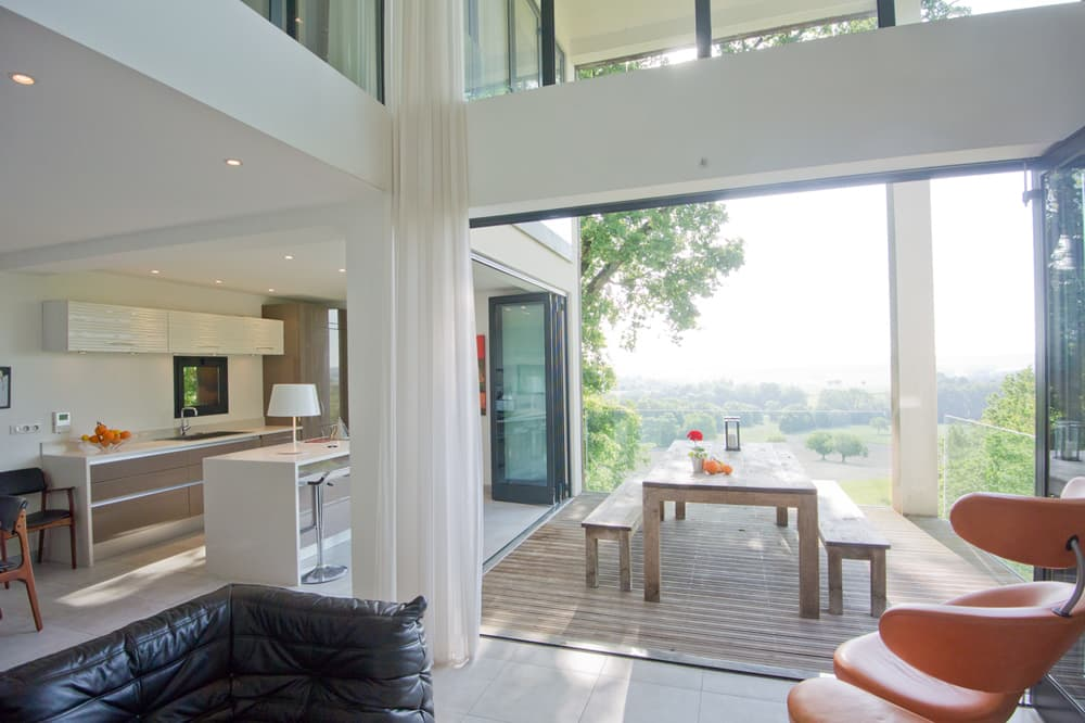 Living room and kitchen in Dordogne rental home