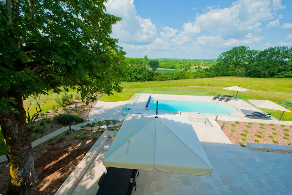 Private, heated pool and terrace with Dordogne countryside views