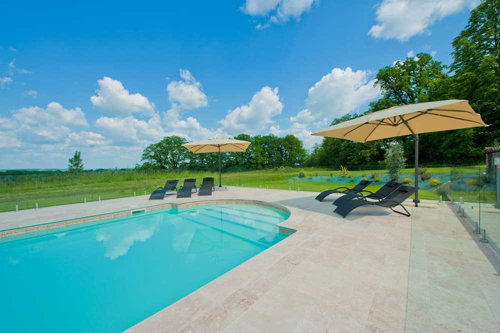Private, heated pool with Dordogne countryside views