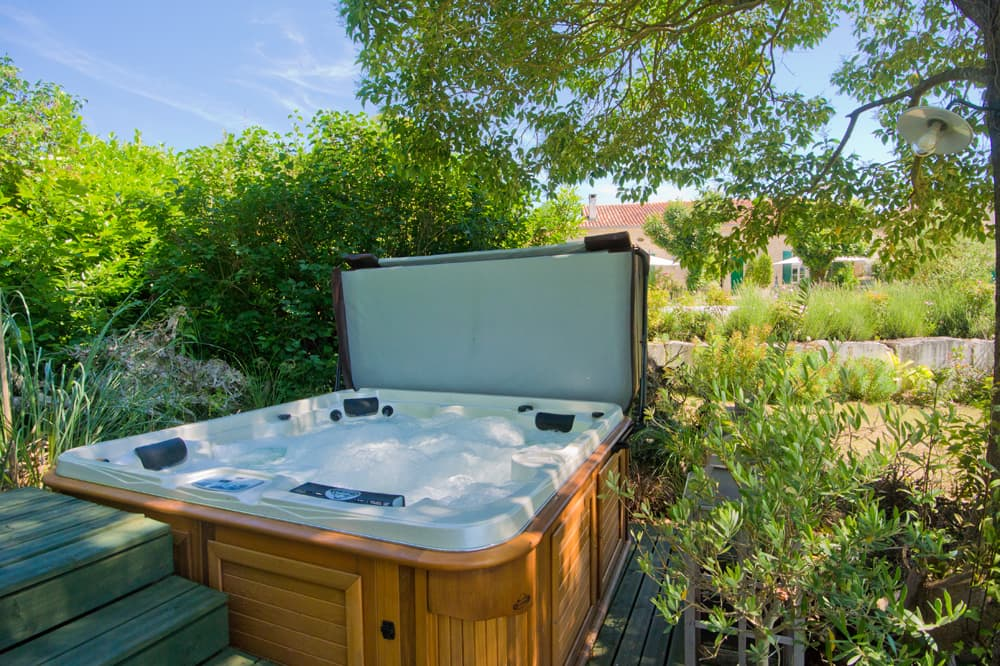 Six person hot-tub in garden