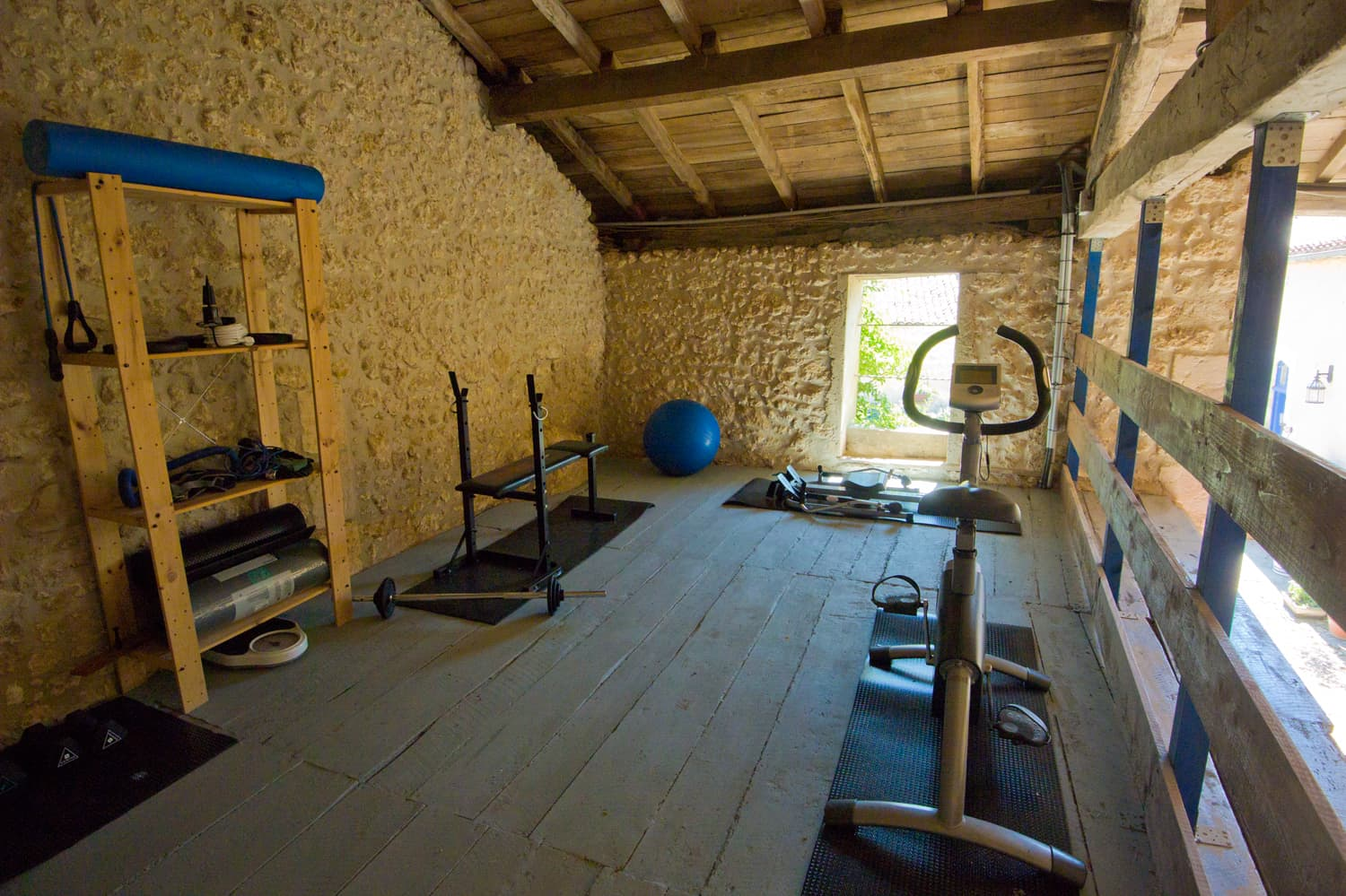 Gym in barn