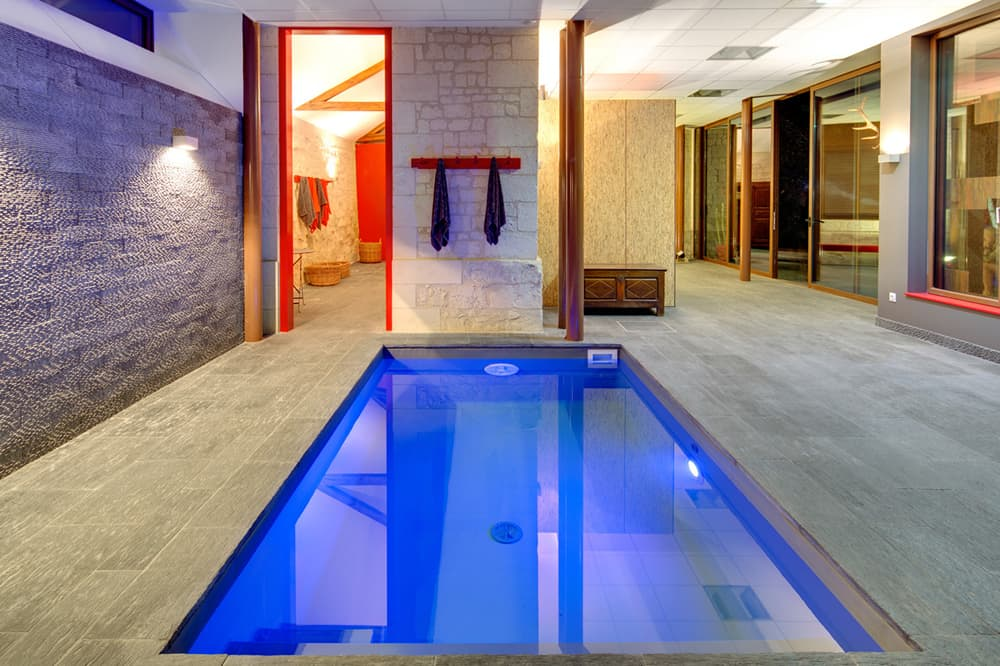 Private, indoor pavilion pool, spa and sauna