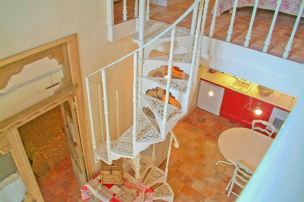Metal staircase in Loire self-catering apartment