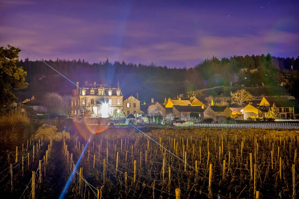 Holiday château in Burgundy at night