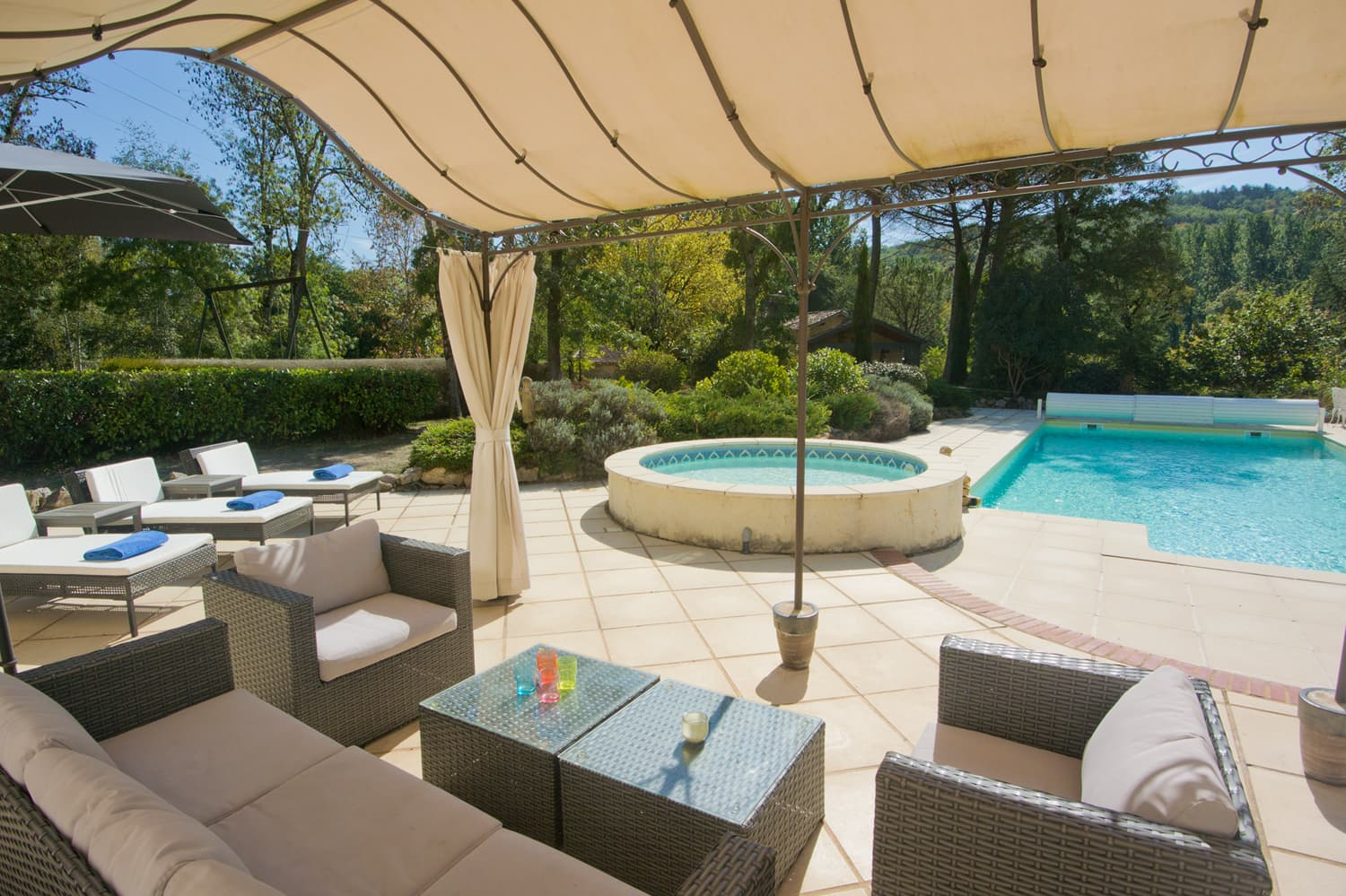 Shaded terrace with private, heated pool