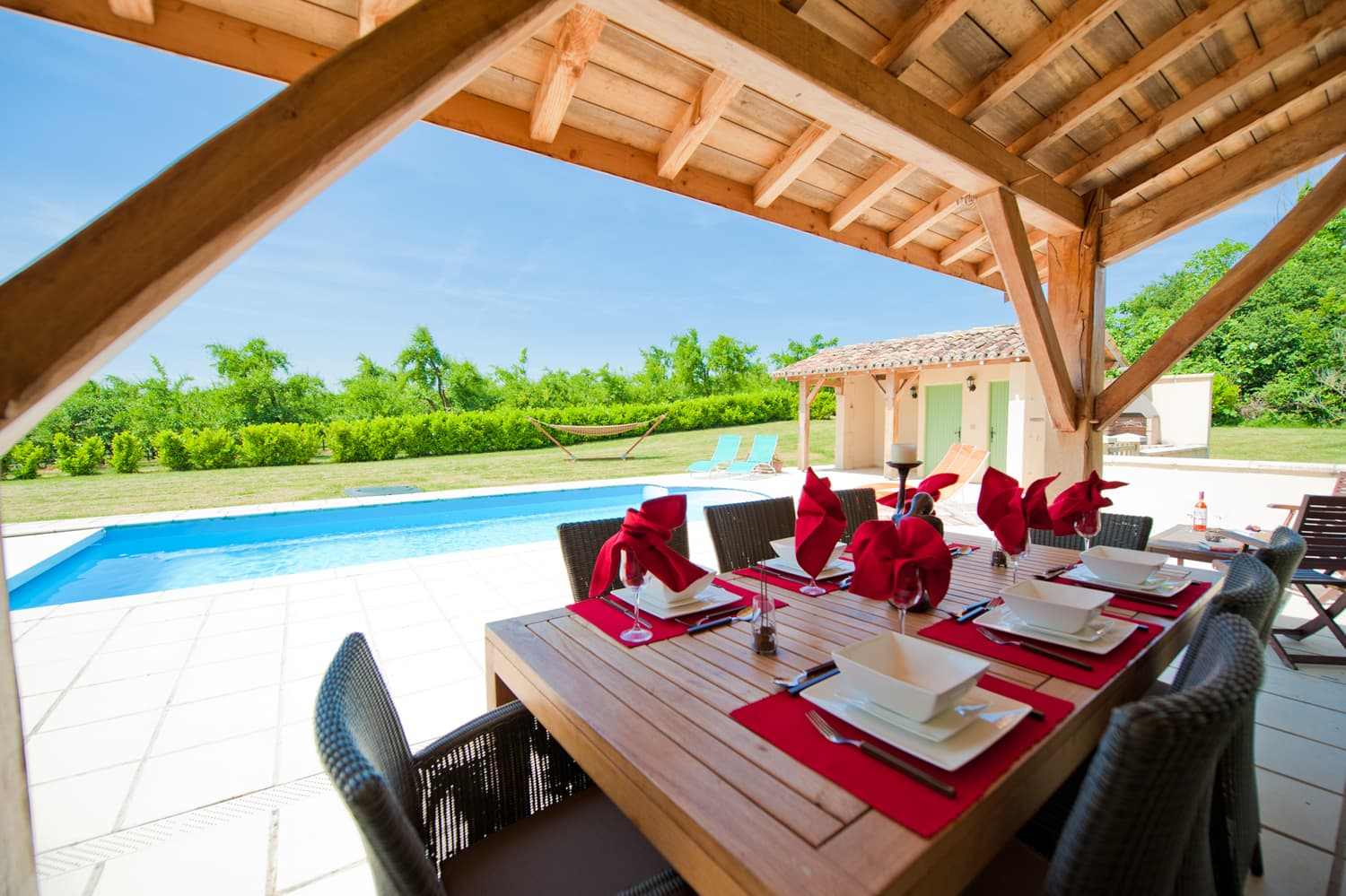 Covered dining pool terrace