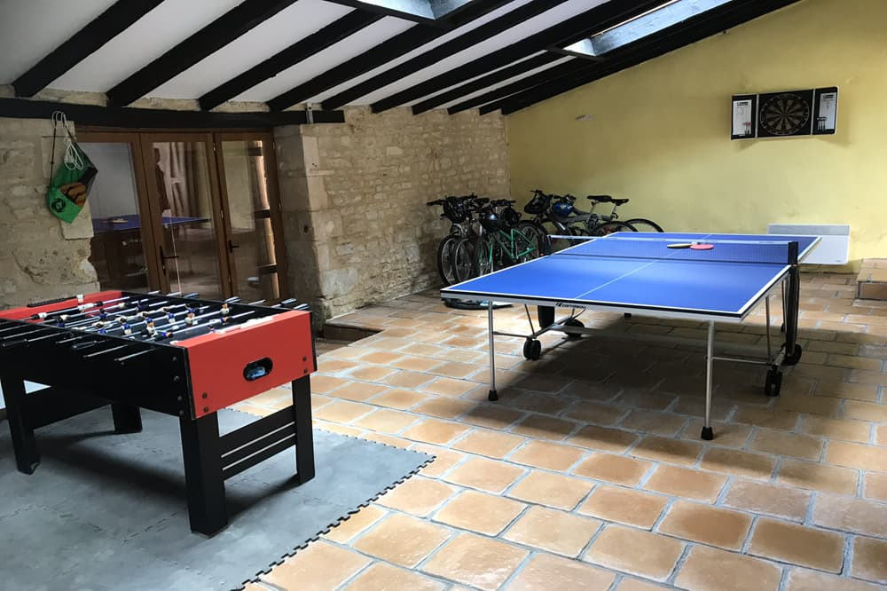 Games room in South West France holiday property