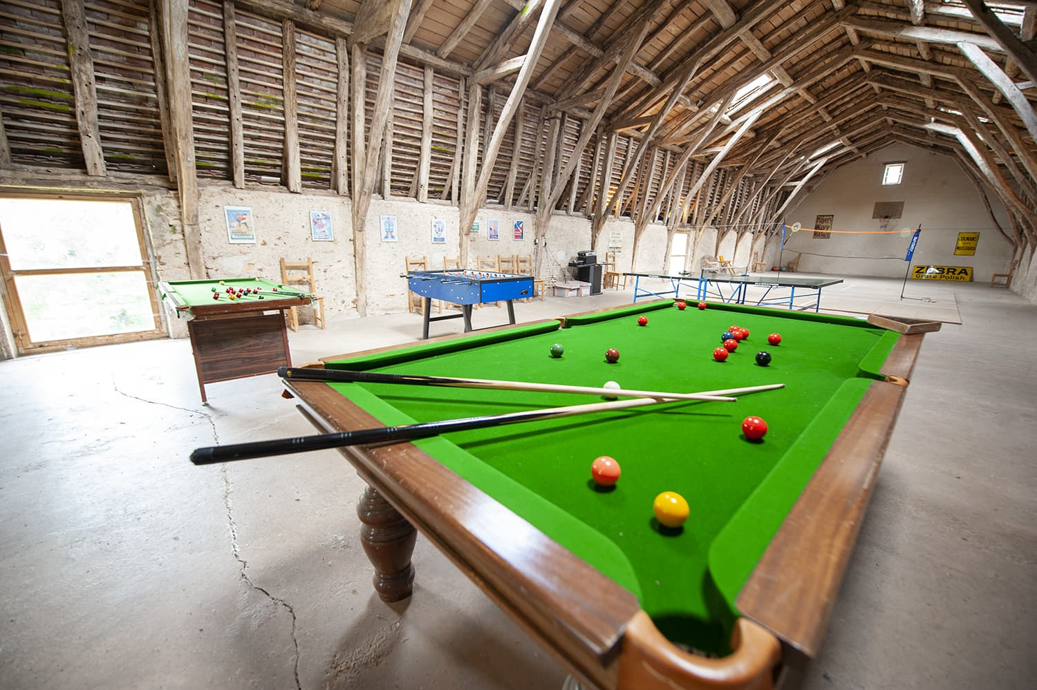 Snooker table in barn