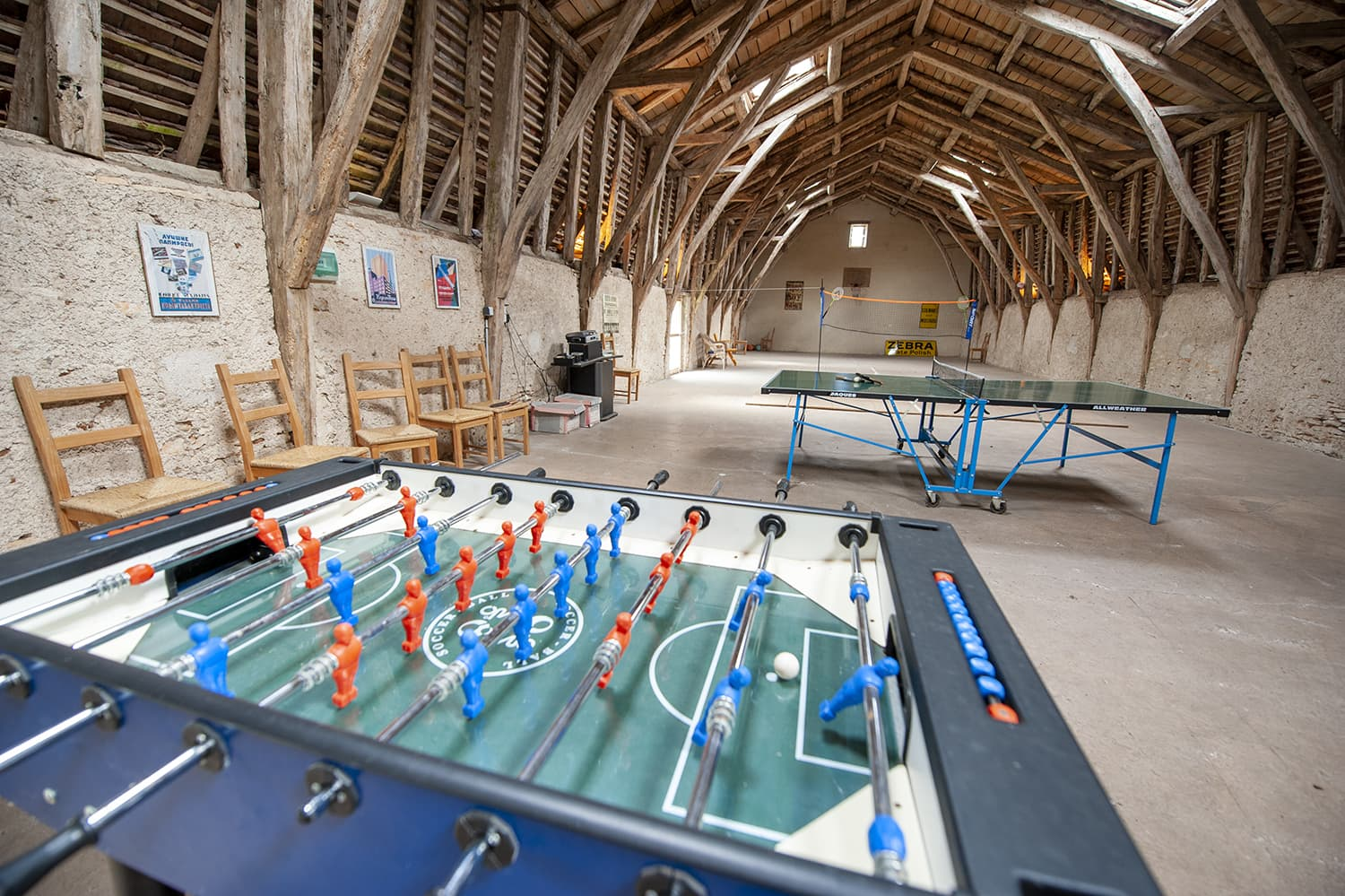 Table football in barn