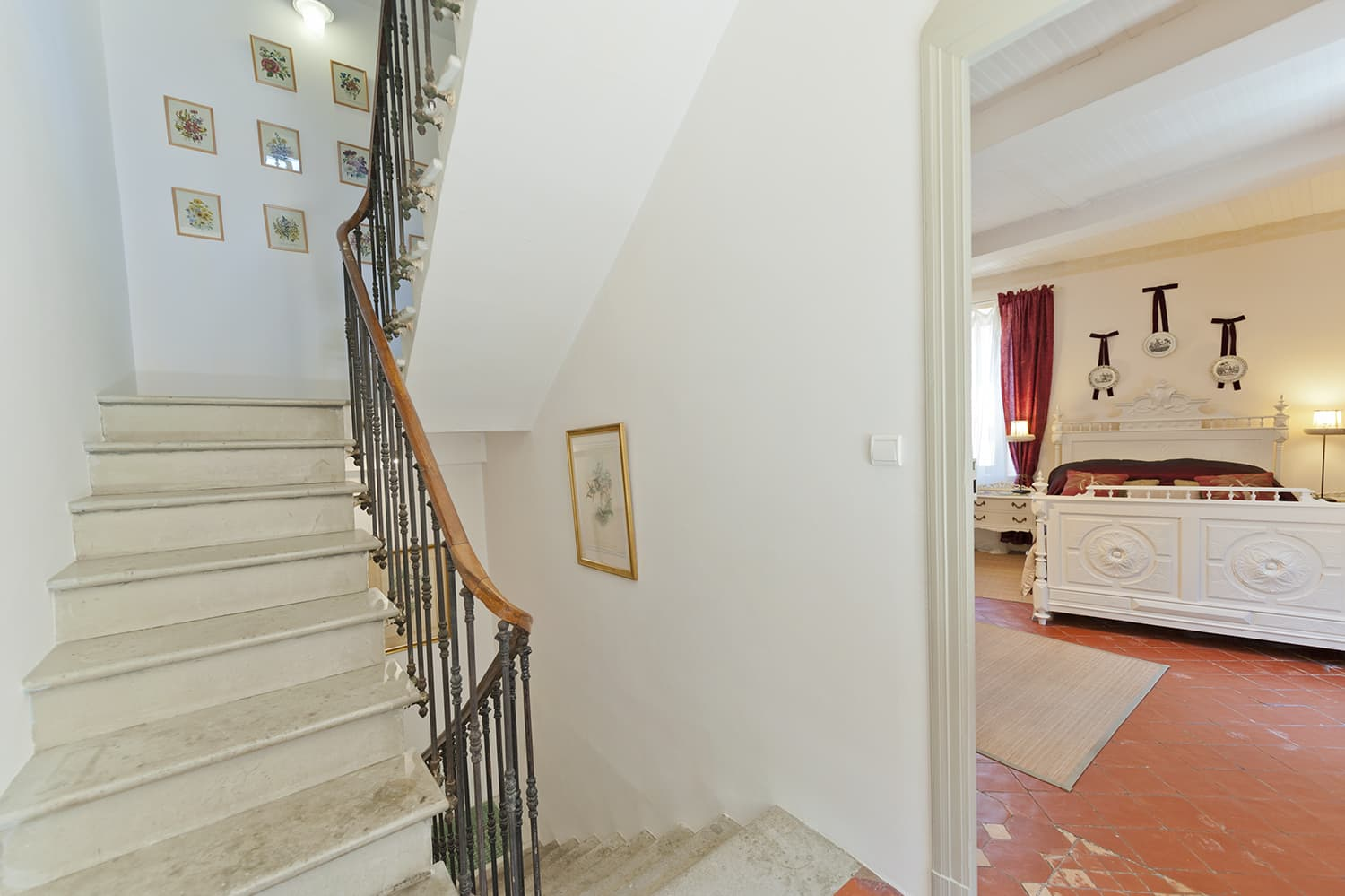 Staircase and bedroom in Languedoc holiday home