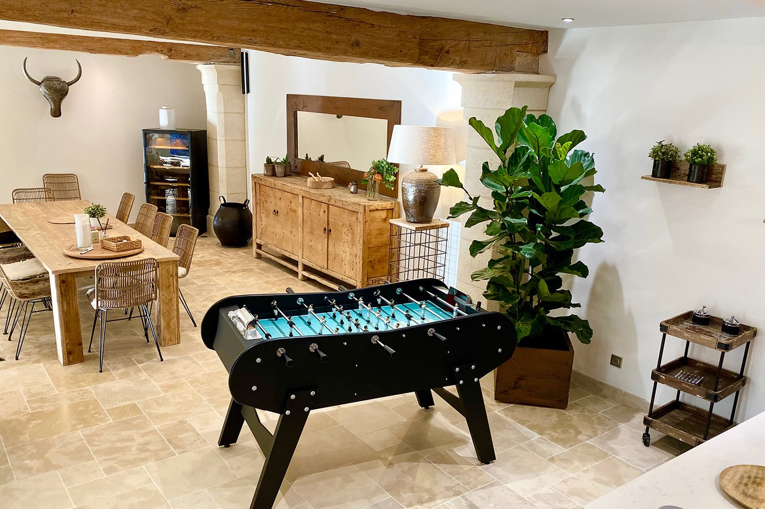 Dining room with table football in Provence-Alpes-Côte d'Azur holiday home