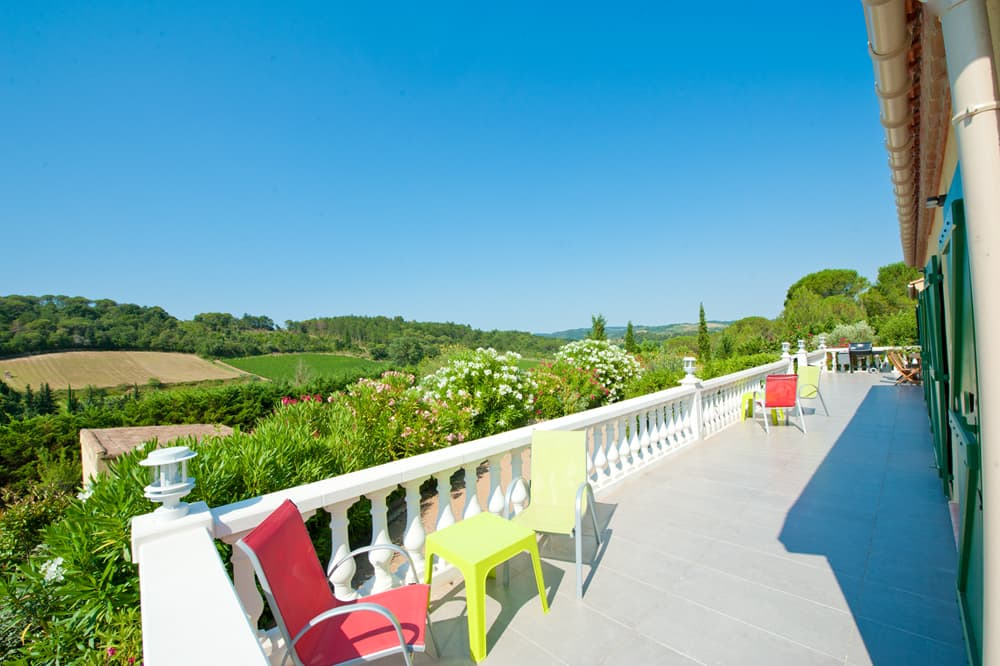 Terrace with Languedoc countryside view