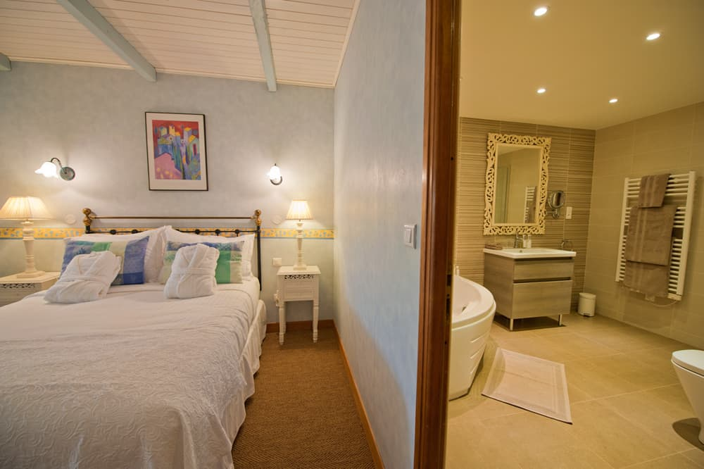Bedroom and ensuite bathroom in Languedoc holiday home