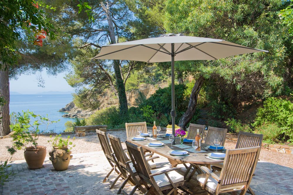 Dining terrace with Mediterranean Sea views