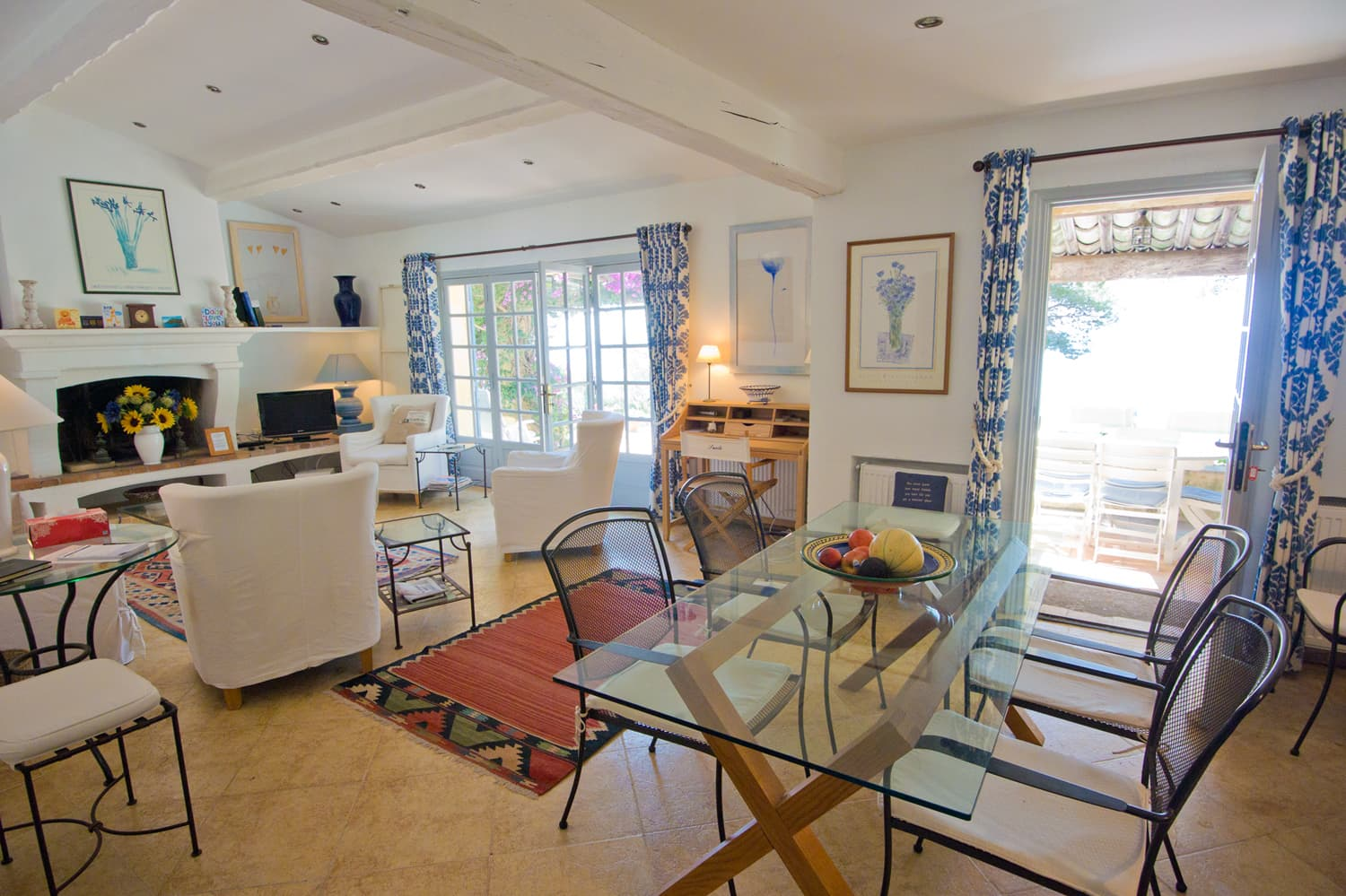 Dining room and living room in Provence holiday accommodation