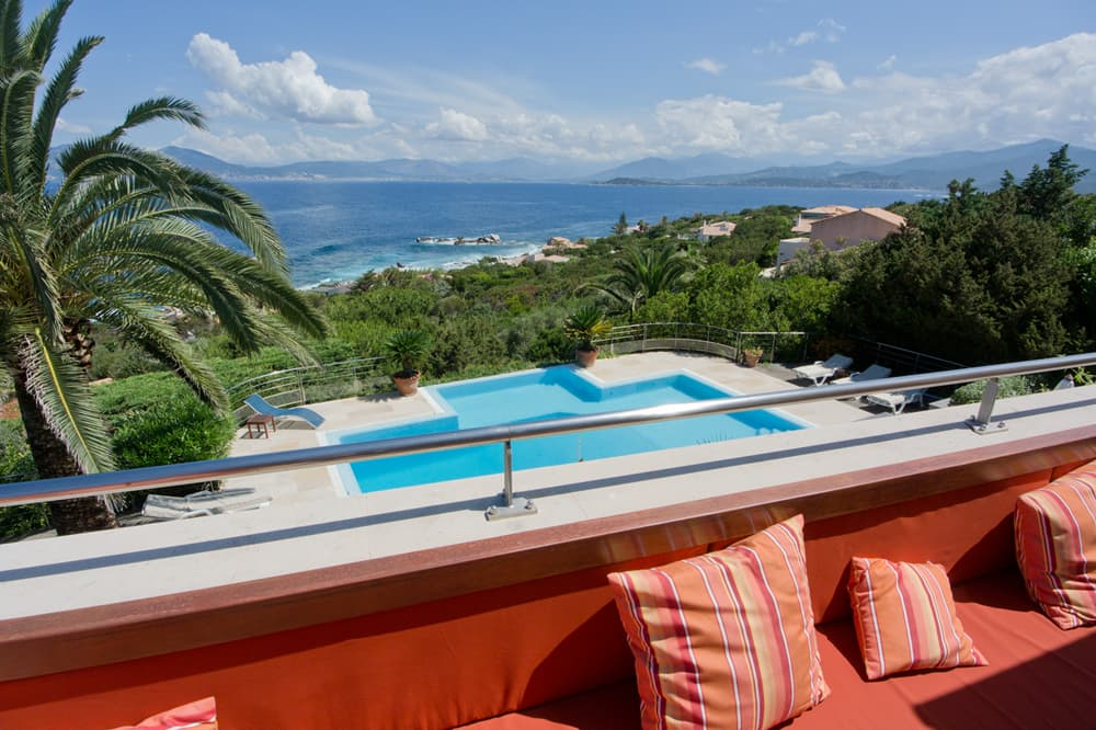 Terrace with private, heated pool and Mediterranean Sea views in Corsica