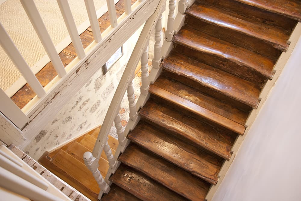 Wooden staircase in South West France holiday accommodation