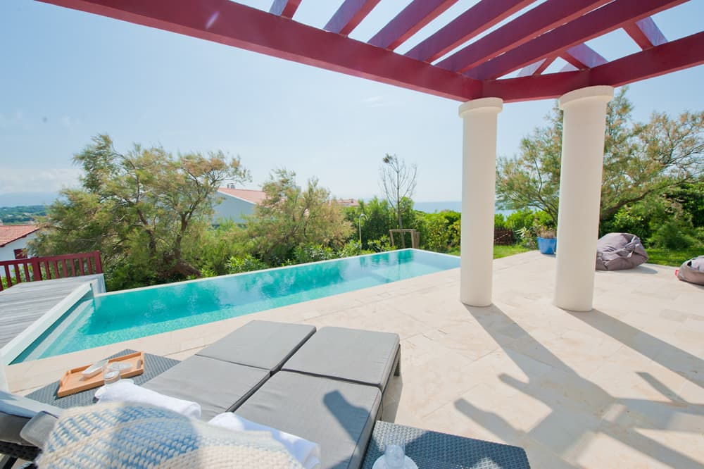 Terrace with private heated pool