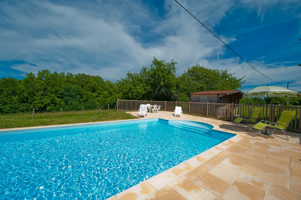 Private pool with terrace and lawned garden