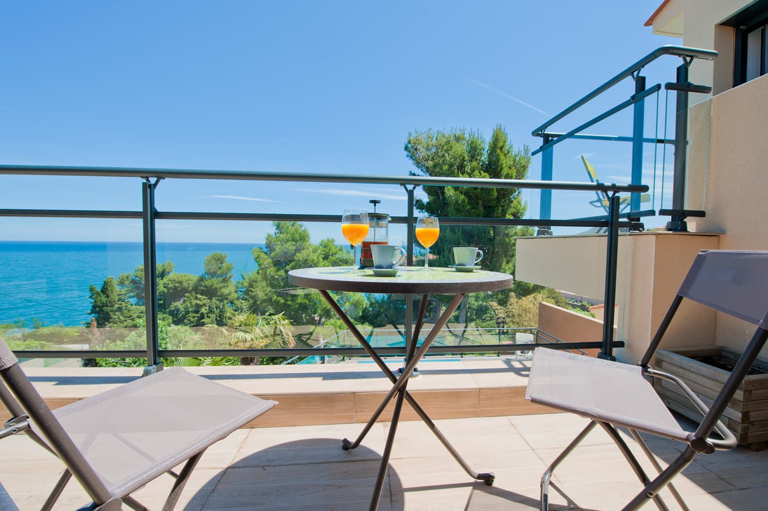 Villa terrace with Mediterranean Sea views in Collioure