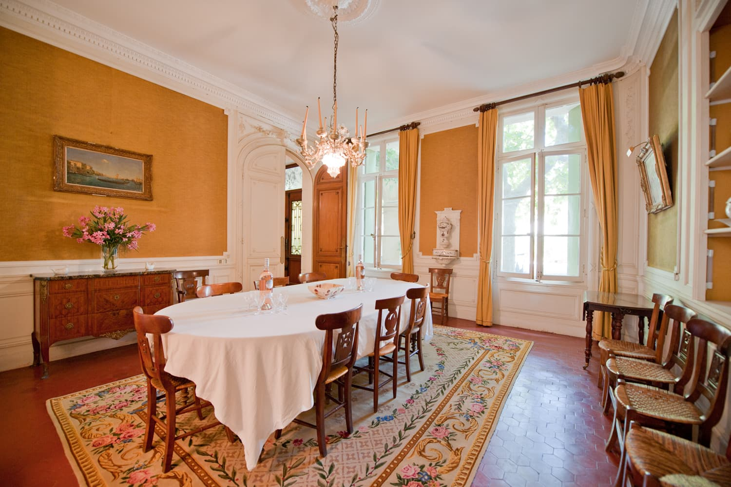 Dining room in Languedoc holiday château