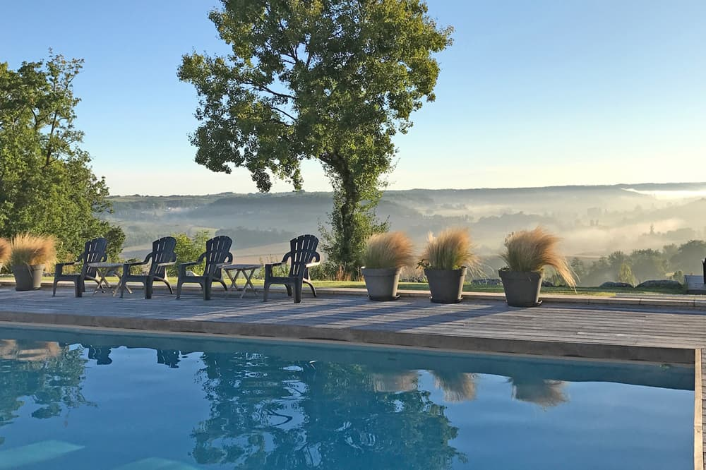 Private pool in South West France with countryside views