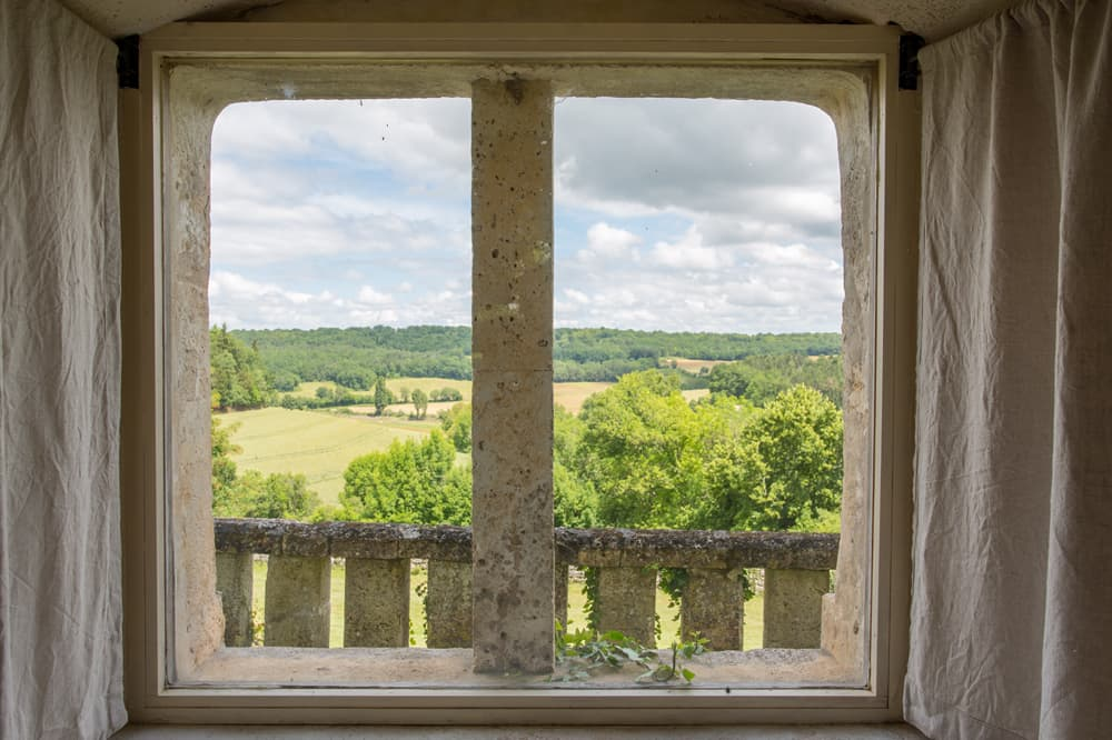 View through window of Charente countryside
