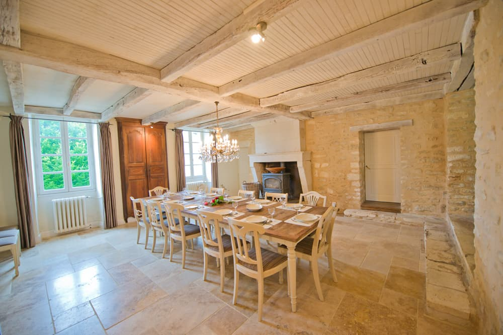 Dining room in West France rental accommodation