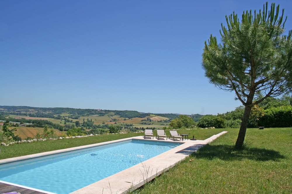 Private, heated pool with South West France countryside views