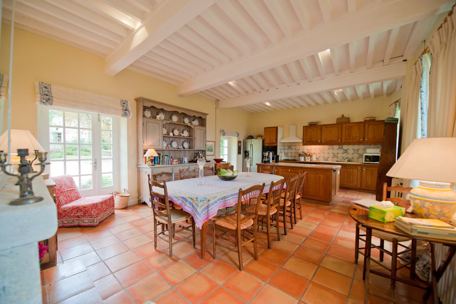 Dining room and kitchen in South West France holiday home