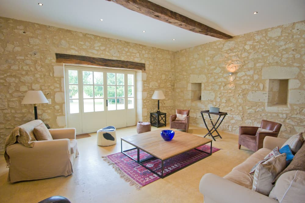Living room in South West France rental home
