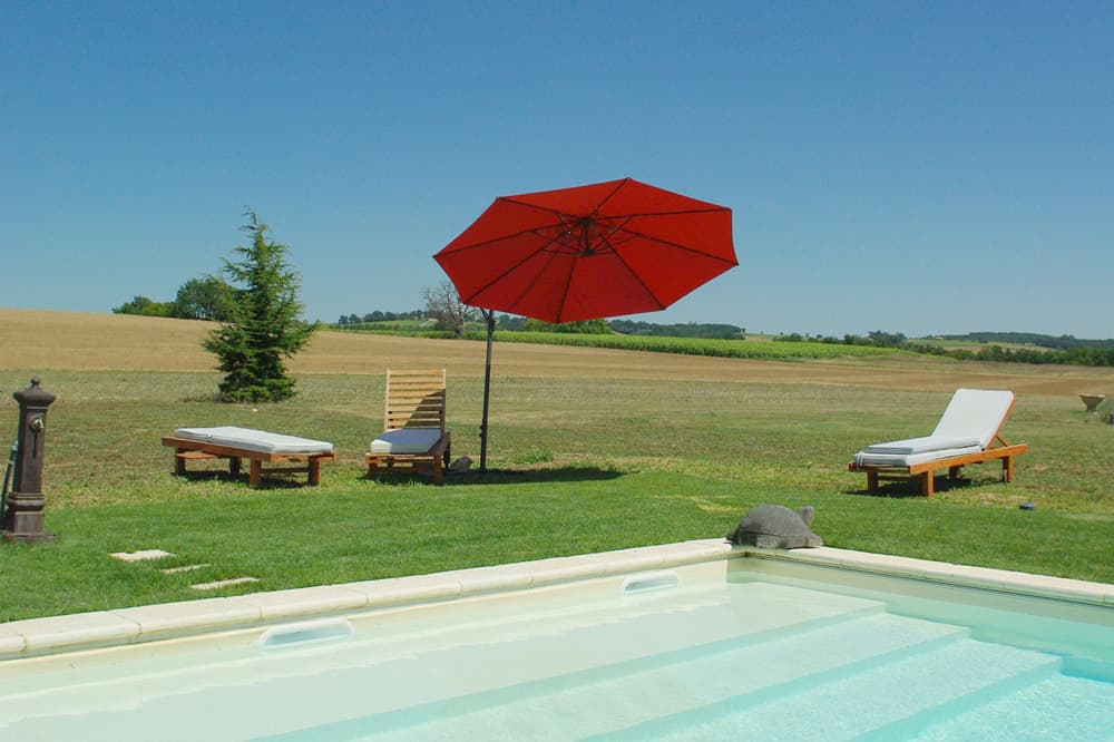 Private pool with South West France countryside views