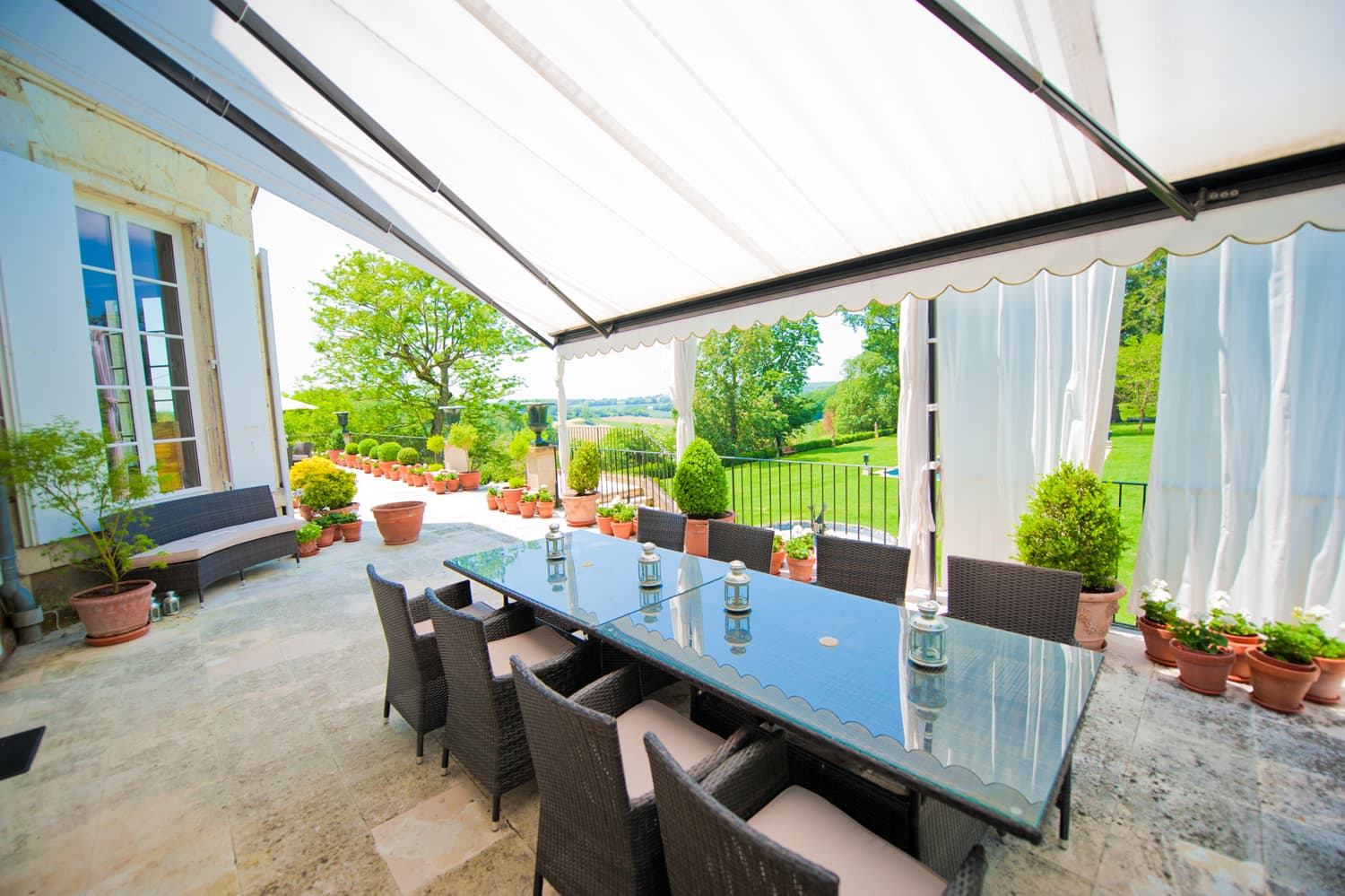Shaded dining terrace