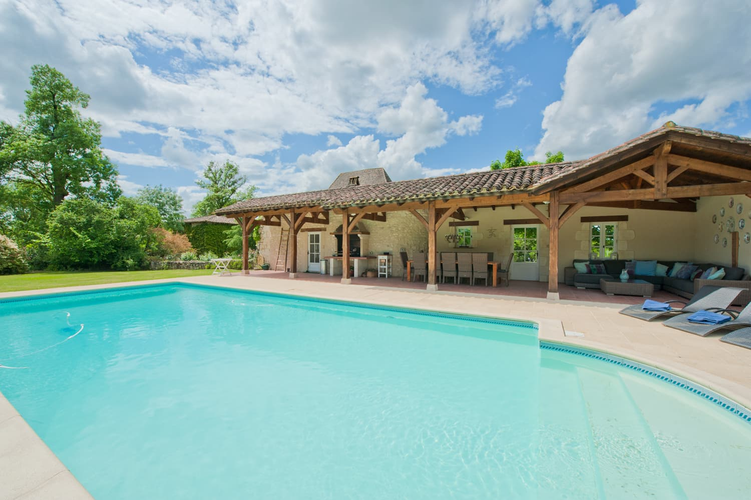 Private, heated pool with covered terrace