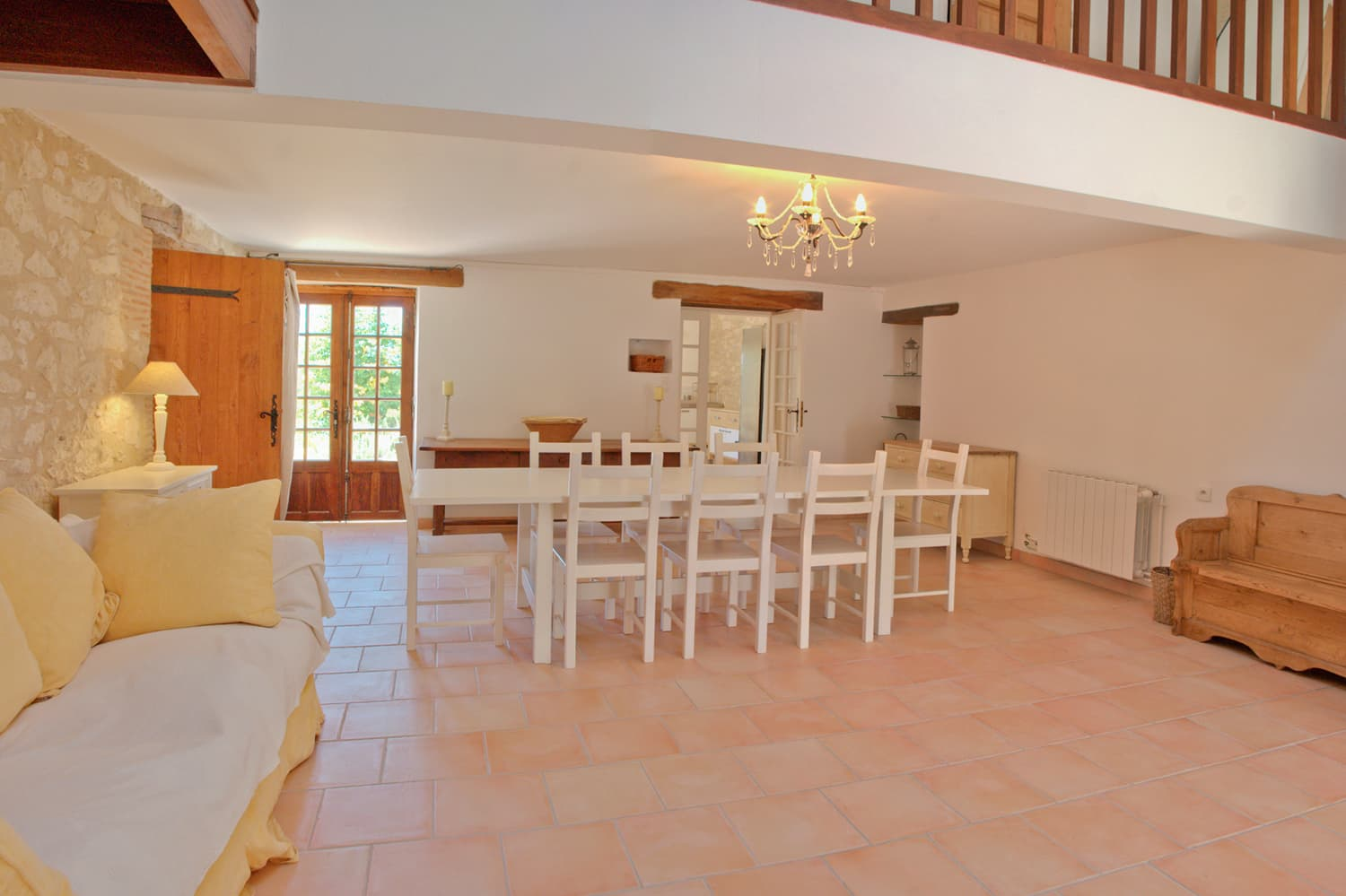 Dining room in South West France holiday accommodation