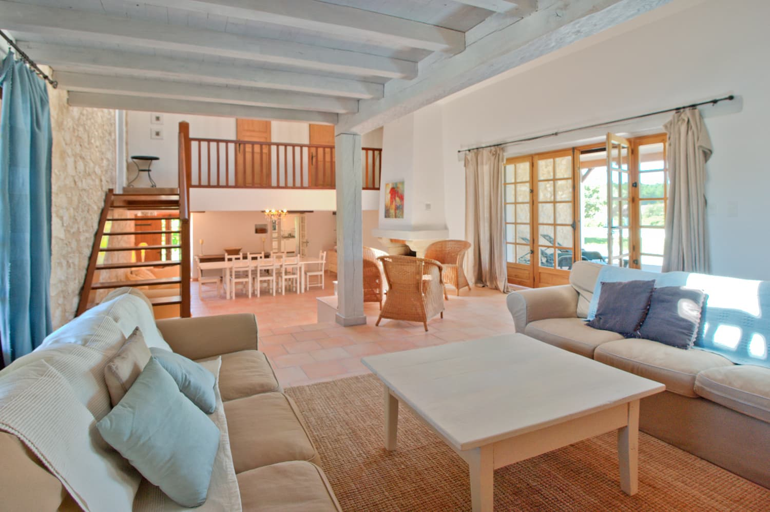 Living and dining room in South West France holiday accommodation
