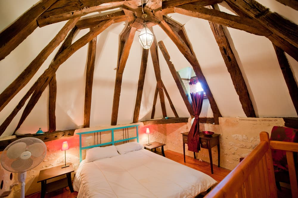 Bedroom in pigeonnier tower
