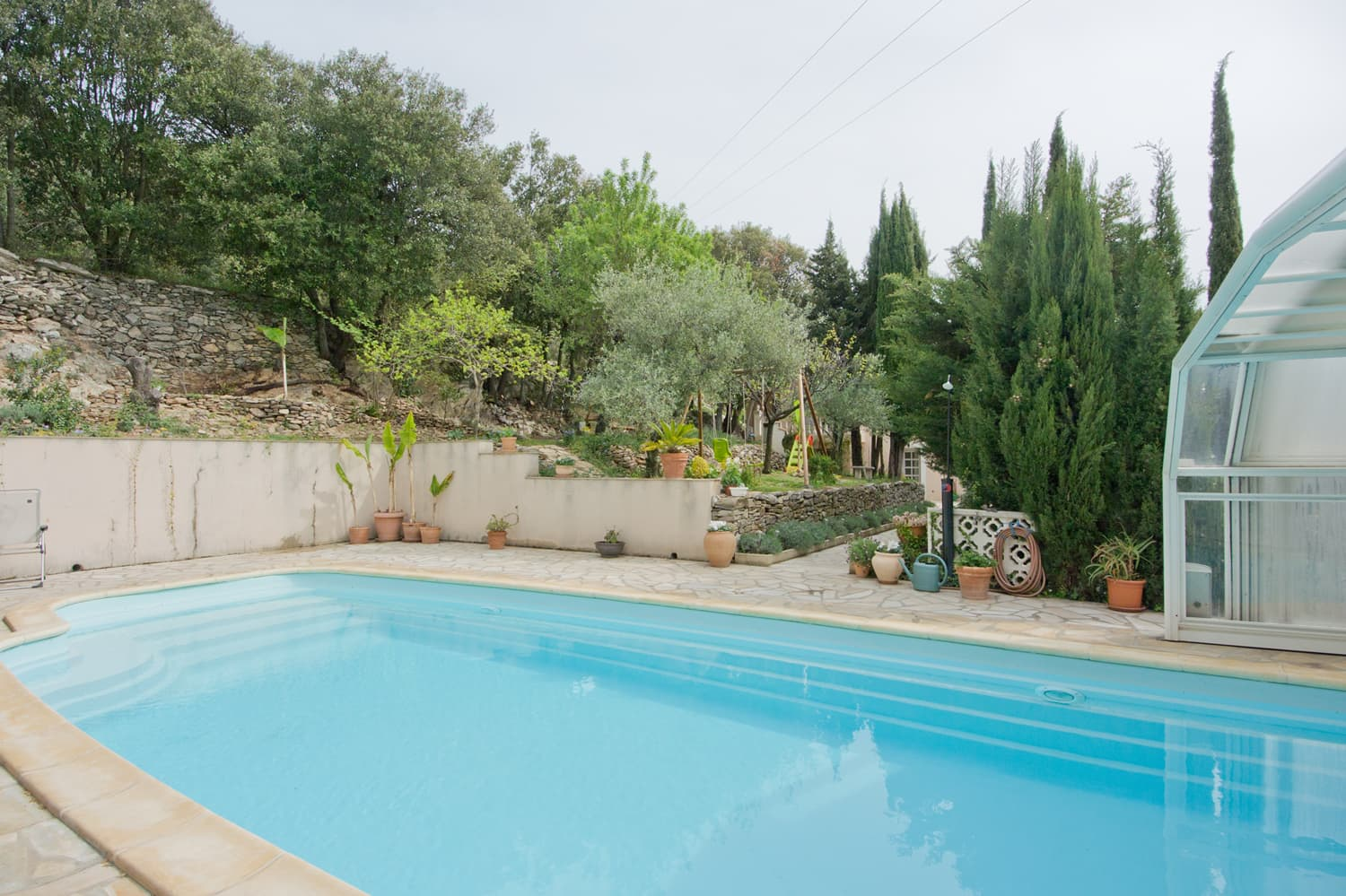 Private, heated pool with terrace