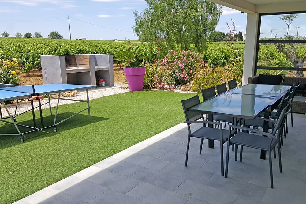Garden with covered dining terrace