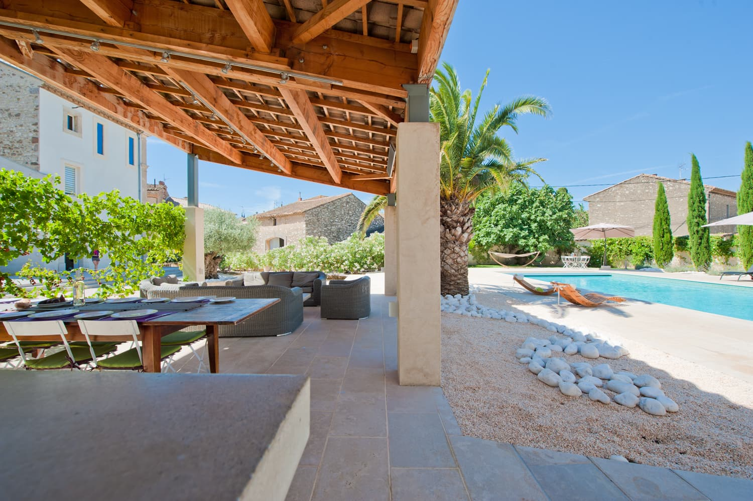 Private heated pool with covered terrace with summer kitchen