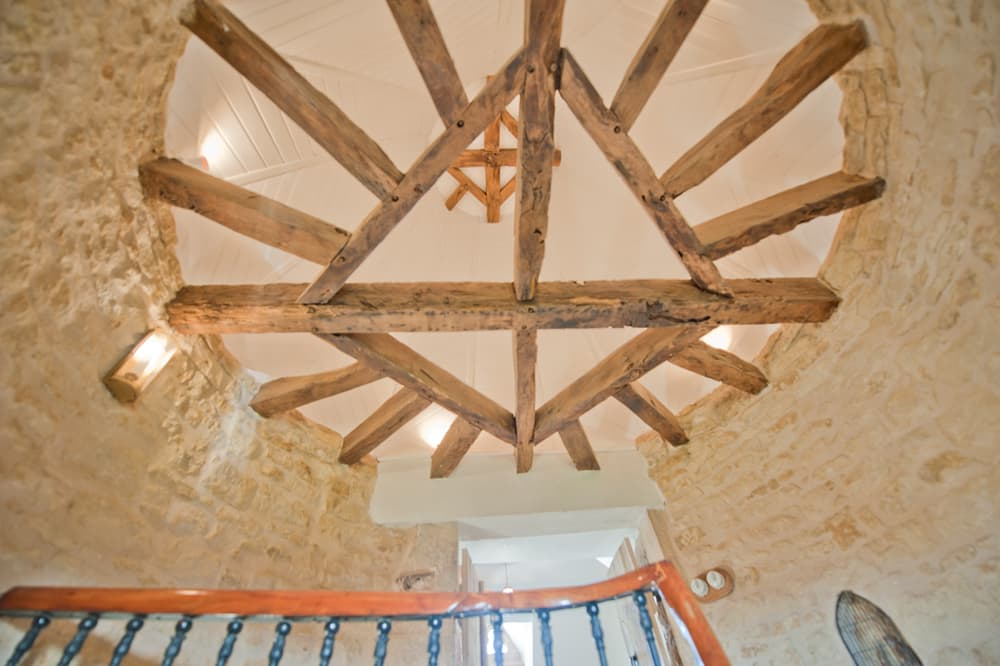 Beamed ceiling in Dordogne holiday home