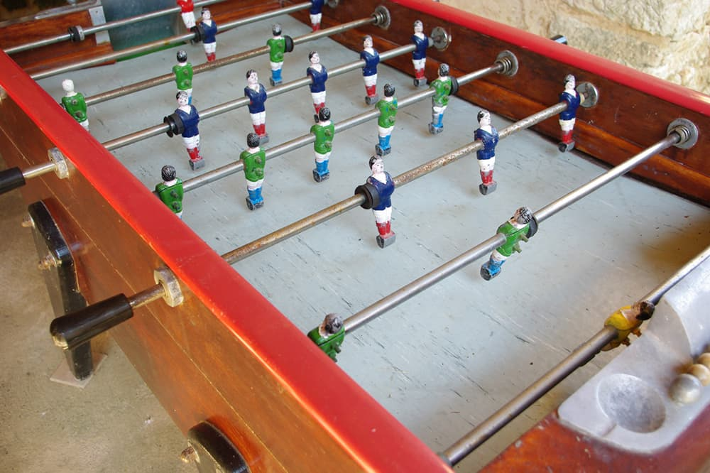 Table football in Dordogne holiday accommodation