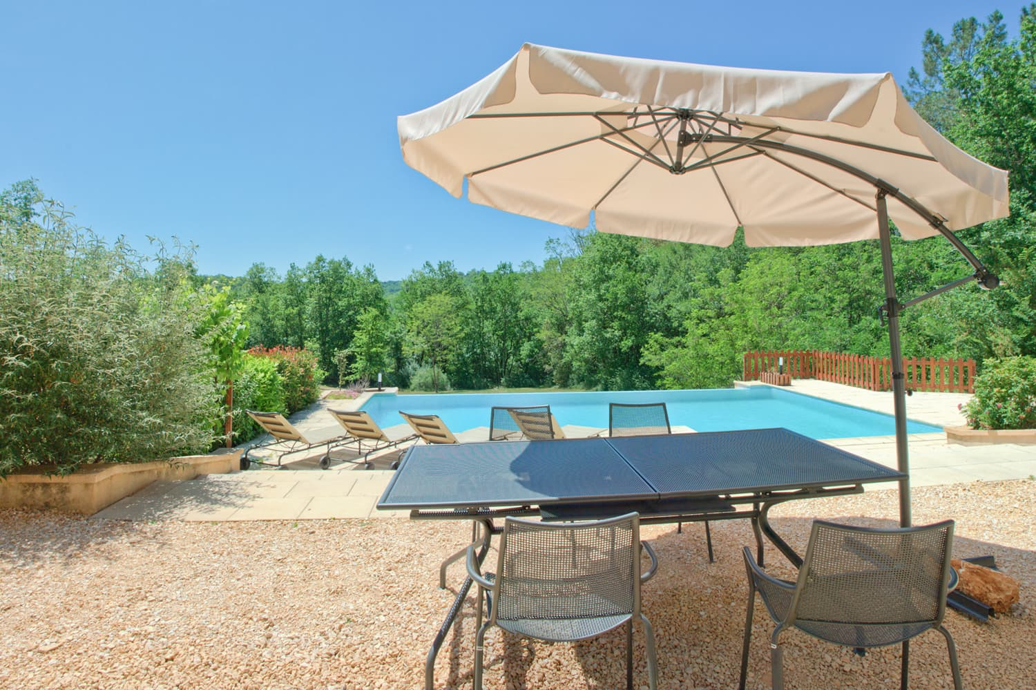 Terrace with private, heated pool