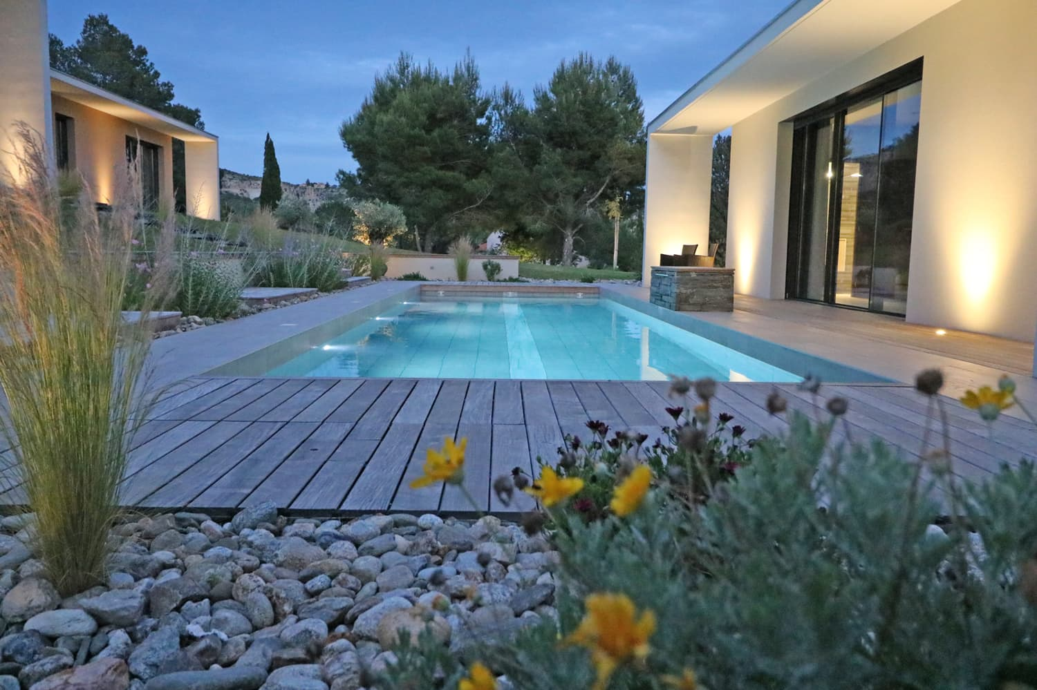 Holiday villa in Languedoc with private pool at night
