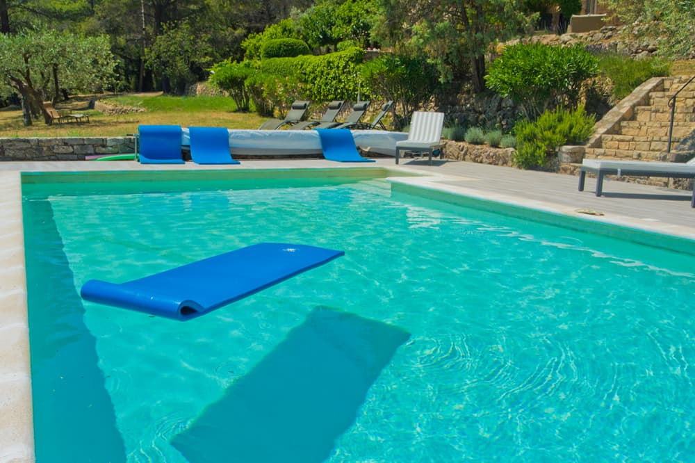 Private, solar heated pool