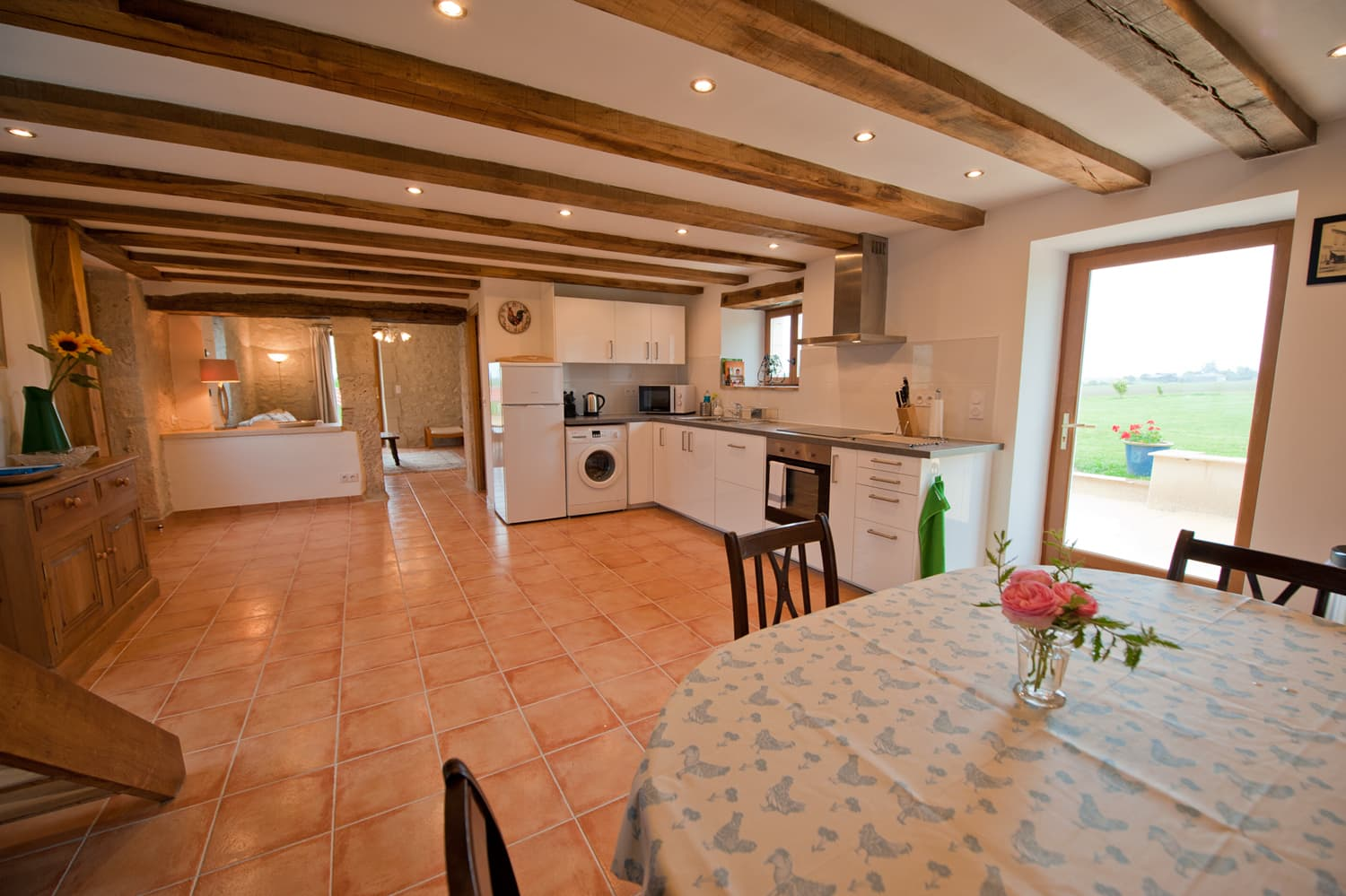 Kitchen and dining room in South West France holiday home