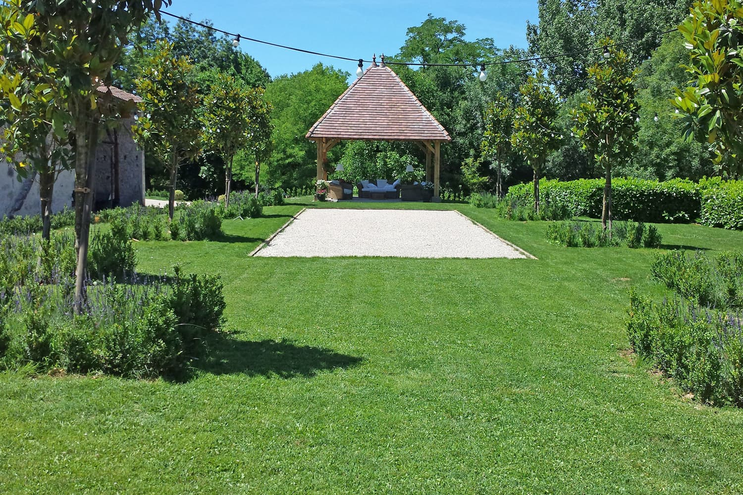 Lawned garden with boules pitch